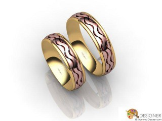 His and Hers Matching Set 18ct. Rose and Yellow Gold Court Wedding Ring-D20207-2501-000P