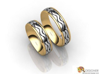 His and Hers Matching Set 18ct. Yellow and White Gold Court Wedding Ring-D20207-2801-000P