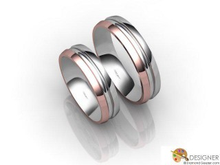 His and Hers Matching Set 18ct. White and Rose Gold Court Wedding Ring-D20210-2401-000P