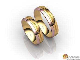 His and Hers Matching Set 18ct. Rose and Yellow Gold Court Wedding Ring-D20210-2501-000P