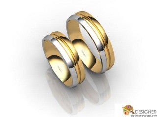 His and Hers Matching Set 18ct. Yellow and White Gold Court Wedding Ring-D20210-2801-000P