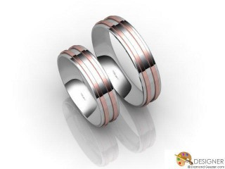 His and Hers Matching Set 18ct. White and Rose Gold Court Wedding Ring-D20215-2401-000P