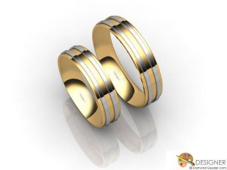 His and Hers Matching Set 18ct. Yellow and White Gold Court Wedding Ring-D20215-2801-000P