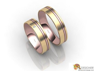 His and Hers Matching Set 18ct. Rose and Yellow Gold Court Wedding Ring-D20223-2503-001P