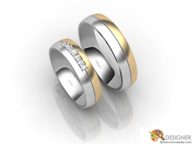 His and Hers Matching Set 18ct. Yellow and White Gold Court Wedding Ring