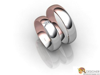 His and Hers Matching Set 18ct. White and Rose Gold Court Wedding Ring-D20247-2401-001P