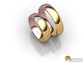 His and Hers Matching Set 18ct. Rose and Yellow Gold Court Wedding Ring-D20247-2501-001P