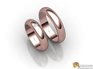 His and Hers Matching Set 18ct. Rose Gold Court Wedding Ring-D20399-0401-001P