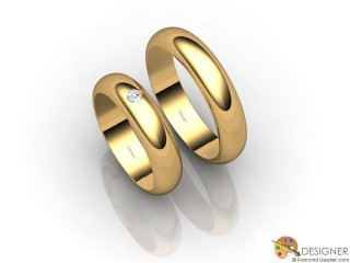 His and Hers Matching Set 18ct. Yellow Gold Court Wedding Ring-D20399-1801-001P