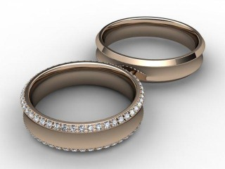His and Hers Matching Set 18ct. Rose Gold Court Wedding Ring-D20418-0401-030P