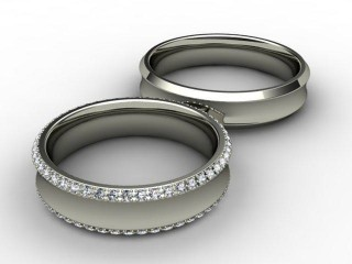 His and Hers Matching Set 18ct. White Gold Court Wedding Ring-D20418-0501-030P