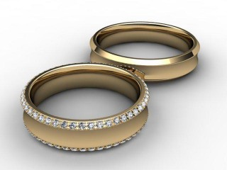 His and Hers Matching Set 18ct. Yellow Gold Court Wedding Ring-D20418-1801-030P