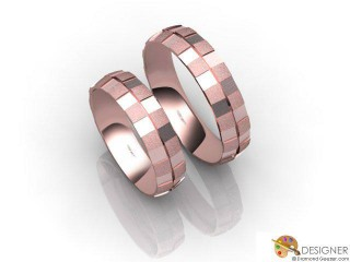 His and Hers Matching Set 18ct. Rose Gold Court Wedding Ring-D20425-0403-000P