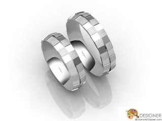 His and Hers Matching Set 18ct. White Gold Court Wedding Ring-D20425-0503-000P