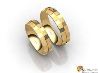 His and Hers Matching Set 18ct. Yellow Gold Court Wedding Ring-D20425-1803-000P