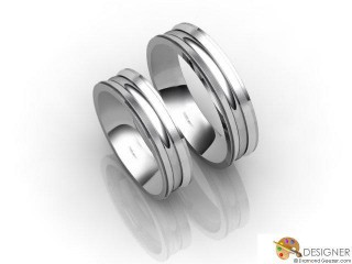 His and Hers Matching Set 18ct. White Gold Court Wedding Ring-D20487-0501-000P