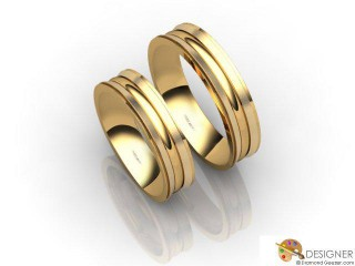 His and Hers Matching Set 18ct. Yellow Gold Court Wedding Ring-D20487-1801-000P