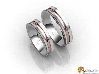 His and Hers Matching Set 18ct. White and Rose Gold Court Wedding Ring-D20487-2401-000P