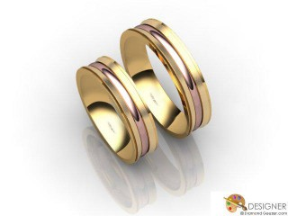 His and Hers Matching Set 18ct. Rose and Yellow Gold Court Wedding Ring-D20487-2501-000P