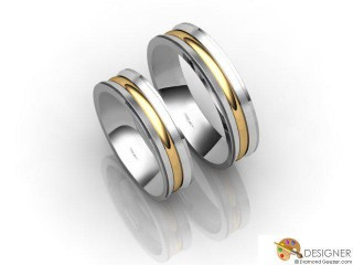 His and Hers Matching Set 18ct. Yellow and White Gold Court Wedding Ring-D20487-2801-000P