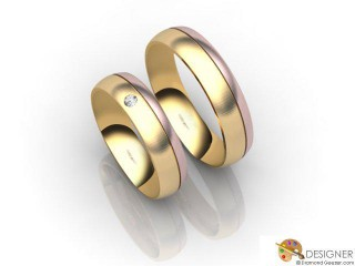 His and Hers Matching Set 18ct. Rose and Yellow Gold Court Wedding Ring-D20495-2503-001P