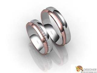 His and Hers Matching Set 18ct. White and Rose Gold Court Wedding Ring-D20496-2401-048P