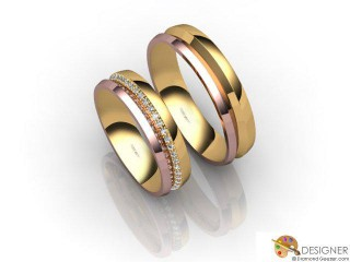 His and Hers Matching Set 18ct. Rose and Yellow Gold Court Wedding Ring-D20496-2501-048P