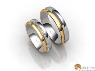His and Hers Matching Set 18ct. Yellow and White Gold Court Wedding Ring-D20496-2801-048P