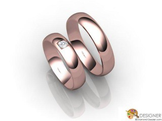 His and Hers Matching Set 18ct. Rose Gold Court Wedding Ring-D20514-0401-001P