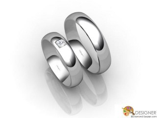 His and Hers Matching Set 18ct. White Gold Court Wedding Ring-D20514-0501-001P