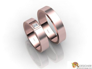 His and Hers Matching Set 18ct. Rose Gold Flat-Court Wedding Ring-D20519-0403-001P