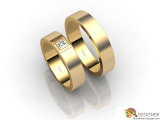 His and Hers Matching Set 18ct. Yellow Gold Flat-Court Wedding Ring-D20519-1803-001P