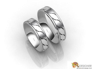 His and Hers Matching Set Platinum Flat-Court Wedding Ring-D20809-0101-000P