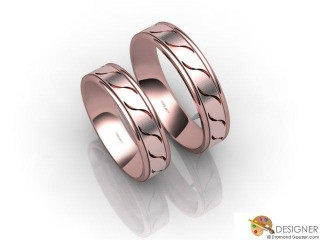 His and Hers Matching Set 18ct. Rose Gold Flat-Court Wedding Ring-D20809-0401-000P