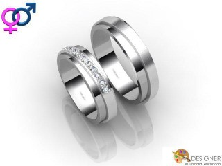 His and Hers Matching Set 18ct. White Gold Court Wedding Ring-D20811-0501-010P