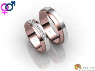 His and Hers Matching Set 18ct. White and Rose Gold Court Wedding Ring-D20811-2401-010P
