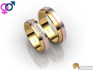 His and Hers Matching Set 18ct. Rose and Yellow Gold Court Wedding Ring-D20811-2501-010P