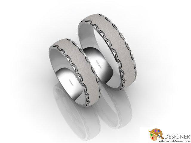 His and Hers Matching Set Platinum Court Wedding Ring