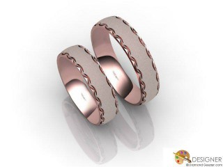 His and Hers Matching Set 18ct. Rose Gold Court Wedding Ring-D20817-0403-000P