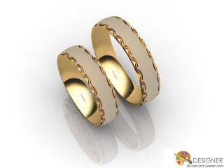 His and Hers Matching Set 18ct. Yellow Gold Court Wedding Ring-D20817-1803-000P