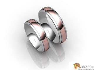 His and Hers Matching Set 18ct. White and Rose Gold Court Wedding Ring-D20820-2401-000P