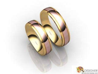 His and Hers Matching Set 18ct. Rose and Yellow Gold Court Wedding Ring-D20820-2501-000P