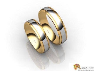 His and Hers Matching Set 18ct. Yellow and White Gold Court Wedding Ring-D20820-2801-000P