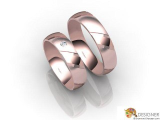His and Hers Matching Set 18ct. Rose Gold Court Wedding Ring-D20889-0403-001P
