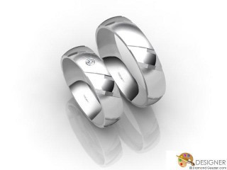 His and Hers Matching Set 18ct. White Gold Court Wedding Ring-D20889-0503-001P
