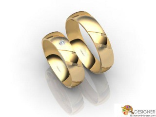 His and Hers Matching Set 18ct. Yellow Gold Court Wedding Ring-D20889-1803-001P