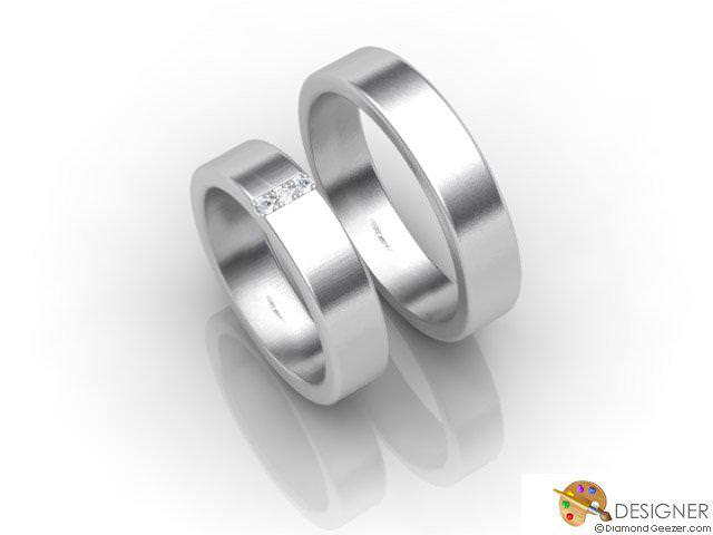 His and Hers Matching Set Platinum Flat-Court Wedding Ring