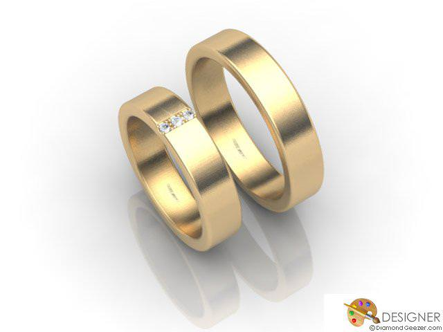His and Hers Matching Set 18ct. Yellow Gold Flat-Court Wedding Ring