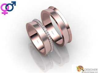 His and Hers Matching Set 18ct. Rose Gold Court Wedding Ring-D20907-0403-050P
