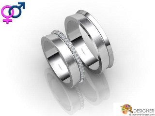 His and Hers Matching Set 18ct. White Gold Court Wedding Ring-D20907-0503-050P
